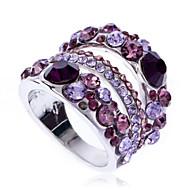 Arinna 18k white gold GP Garnet Purple Violet clear Crystal Finger Ring J1056