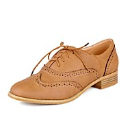 Women's Shoes Leather Chunky Heel Round Toe Oxfords with Lace-up Casual More Colors available