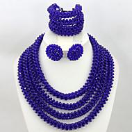 Handmade African Beads Jewelry Set Crystal Beads Necklace Bracelet Earrings Set AC053