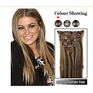 "22"" Clip in Remy Human Hair Extensions 7pcs 70g and Mixed Colour and Blond Colours  For Your Choice"