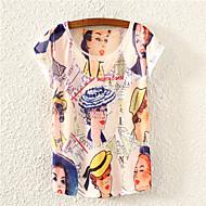 Kortermet T-skjorte Rund hals Blomstret Bomull Kvinner