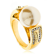 Gold Gp 18K Elegent Yellow Pearl Clear Swarovski Crystals Elements Grace Rings J0234