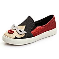 נשים-נעליים ללא שרוכים-נצנצים-נוחות-ורוד אדום-משרד ועבודה יומיומי ספורט מסיבה וערב-עקב שטוח