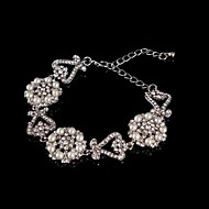Vintage Luxurious Round Diamond Pearl Flower Silver Bracelet For Women Lades Bridal Birthday GIft Party Wedding Heart