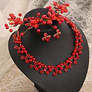 Women's Imitation Pearl Wedding Jewelry Set With Crystal Imitation Pearl