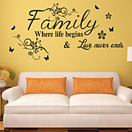 Wall Stickers Wall Decals, Style The New English Proverbs Flower Vine PVC Wall Stickers