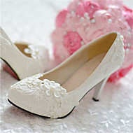 Women's Shoes Leather Stiletto Heel Heels/Pointed Toe Pumps/Heels Wedding/Party & Evening White