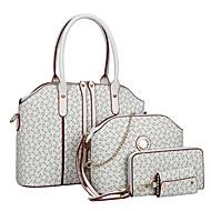Women PU Shell Shoulder Bag / Tote / Satchel / Wallet / Card & ID Holder - White / Pink / Blue