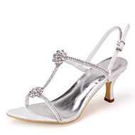 Women's Spring Summer Fall T-Strap Satin Casual Stiletto Heel Rhinestone Black Blue Pink Purple Red Ivory White Silver Gold Champagne