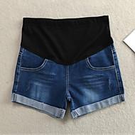 Pantalon Maternité Shorts Décontracté Toile de jean Non Elastique