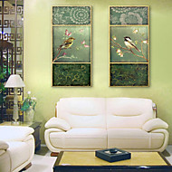 E-HOME® Stretched Canvas Art Flowers And Birds Decoration Painting  Set of 2