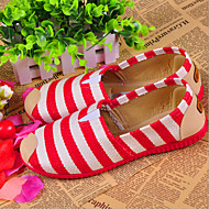 Women's Shoes Canvas Stripes Flat Heel Moccasin/Comfort Loafers Casual Blue/Red