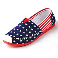 Women's Shoes Canvas Stars Flat Heel Moccasin/Comfort/Round Toe Loafers Casual Blue/Red