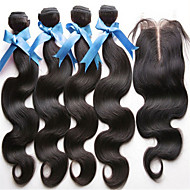4Pcs/ Lot Brazilian Virgin Hair With Closure 3 Bundles Unprocessed Brazilian Body Wave With Lace Closure