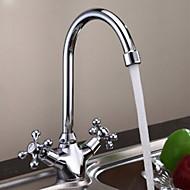yüksek kaliteli çift kolu krom banyo lavabo musluk - Gümüş
