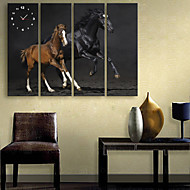 E-HOME® Two Horses Clock in Canvas 4pcs