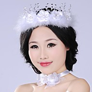 Graceful Fashion Exaggerated Simulation Feather Flower  Pearl  Bridal Headpiece