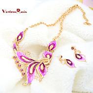 WesternRain new 18K Rose Gold Plated Pink Rhinestone Pendant Necklace Fashion Women Costume Jewelry Set