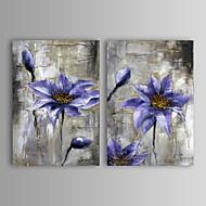 Ručně malované Abstraktní / Květinový/Botanický motiv Dva panely Plátno Hang-malované olejomalba For Home dekorace