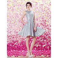 TS Couture Cocktail Party Dress - Silver A-line/Princess Bateau Knee-length Charmeuse