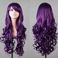 뜨거운 모델에게 고품질 합성 긴 곱슬 보라색 가발 고온 와이어 머리의 긴 섹션 코스프레