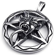 Stainless Steel Baphomet Inverted Pentagram Pendant Mens Necklace