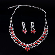 Fashion Women's Red Rhinestone Necklace&Ring Set