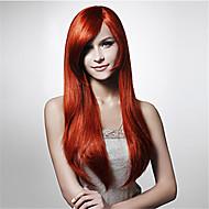 Fashion Red High Temperature Long Straight Hair Silk Wig