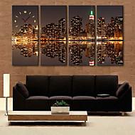 E-HOME® City Image Clock in Canvas 4pcs