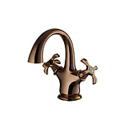 Antique Rose Gold Finish Brass One Hole Two Handle Rotatable Bathroom Sink Faucet