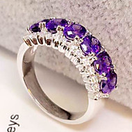 Oval Shape Synthetic Sapphire Jewelry Wedding Ring 0.5CT*6 Simulate Gemstone Engagement Ring for Women Sterling Silver