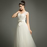웨딩 드레스 - 아이보리(색상은 모니터에 따라 다를 수 있음) A 라인 쿼트 트레인 스트랩 튤