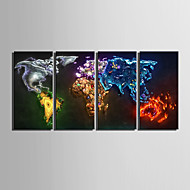 e-Home® estiró arte mapa de color Conjunto de la decoración de la pintura de la lona 4