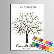 e-home® personlig fingeravtrykk maleri lerret utskrifter -grønne trær (inkluderer 12 blekkfarger)