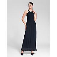 Formal Evening Dress - Black Sheath/Column Jewel Floor-length Polyester