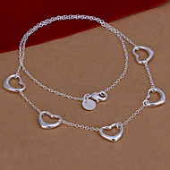 Fashion Five Hearts Shape Silver Plated Silver Pendant Necklace(White)(1Pc)