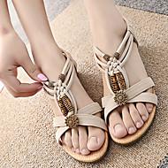 Γυναικεία παπούτσια - Πέδιλα - Ύπαιθρος / Φόρεμα / Καθημερινά - Επίπεδο Τακούνι - Peep Toe / Με Λουράκι Τ - Δερματίνη - Μαύρο / Άσπρο