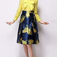 Women's Vintage Casual/Print Knee-length Skirts , Polyester Inelastic