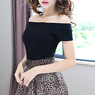 Women's Off The Shoulder Sexy/Casual Micro-elastic Short Sleeve Bateau Bare Midriff Short T-shirt (Cotton/Spandex)