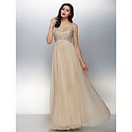 구슬과 TS couture® 공식적인 저녁 드레스 플러스 사이즈 / 아담 A 라인 V 넥 바닥 길이 쉬폰