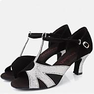 Women's Dance Shoes Sandals Velvet Chunky Heel Black and Sliver
