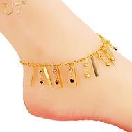 style de mode chaude noir blanc charmes de cristal des femmes u7® sexy robe d'été des bijoux de parti cheville bracelet chaîne de cheville