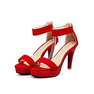 Women's Sandals Summer Platform Comfort Ankle Strap Fleece Wedding Casual Party & Evening Stiletto Heel Platform Zipper Black Purple Red
