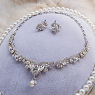 Fashion Silver Color With White Rhinestone Wedding Necklace And Ear Clip Sets D0447AJ