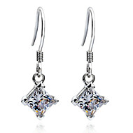 Sterling Silver Princess Dangle Earrings 2CT/Piece SONA Simulate Diamond Earrings Engagement for Women Platinum Plated