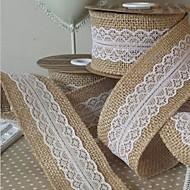 "5M 2"" (5 cm) Natural Jute Burlap Hessian Ribbon with Lace Trims Tape Rustic Wedding Decor Wedding Cake Topper(Random)"