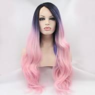 parrucca anteriore del merletto parrucca sintetica di colore rosa della parrucca cosplay viola partito / i capelli lunghi