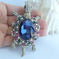 Women Accessories Gold-tone Multicolor Rhinestone Crystal Tortoise Turtle Brooch Art Deco Scarf Brooch Women Jewelry