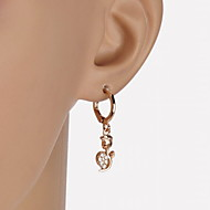 Fashion Women's Cubic Zirconia/Brass Rose Drop Earrings With Cubic Zirconia