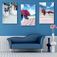 e-Home® venytetty kankaalle art merenranta valkoinen talo koriste maalaus sarja 3